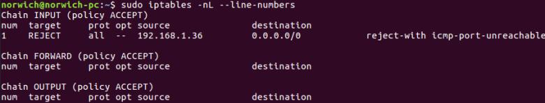 list-number-iptables